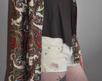 70s Paisley Button Up Silk Blouse