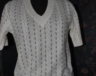 Openwork sweater cotton white 1980