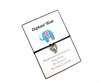 Elephant wish bracelet, Elephant bracelet, Elephant charm bracelet,  Friendship Bracelet, Elephant jewelry, Best friend gift, gifts For her.