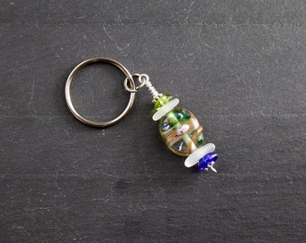 Frosty Sea Glass Stack Key Chain with Decorative Glass Bead and Czech Glass Beads - Real Seaglass, Sea Stacker Keyring, Beaded Keychain