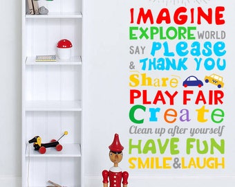 Playroom Rules, Personalized Playroom Rules, Playroom Rules Sign, Play Room Rules, CUSTOM Playroom Rules, Playroom Rules Decal, Kids Rules