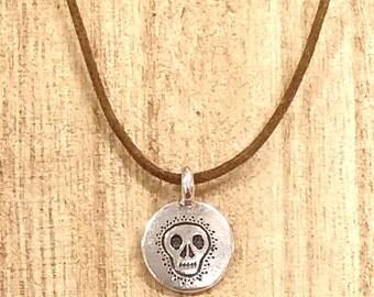 Sugar Skull Necklace, Skull Necklace, Dia De Los Muertos, Day of the Dead, Silver Charm Necklace, Boho Jewelry, Minimalist, NewoDesigns