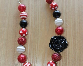 Black Flower Pendant With Red Accents, Disney Inspired Chunky Bead Necklace