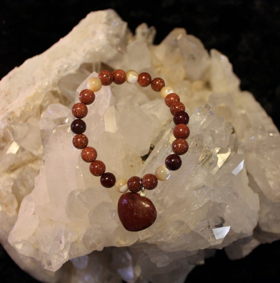 SALE ~ Red Goldstone, Natural Mother of Pearl and Mookaite bracelet with Stone Heart