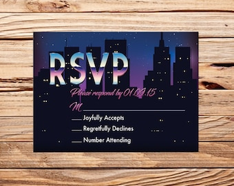 Retro Futuristic 80s Cyberpunk Glam Sci Fi Printable Wedding Party RSVP