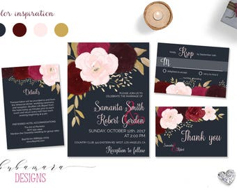 Navy Burgundy Wedding Invitation Suite Printable Marsala Pink Autumn Wedding Invite Set Bohemian Fall Floral Digital Rustic Invite - WS033