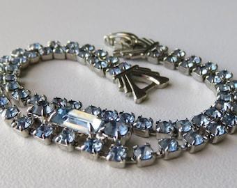 Vintage Rhinestone Bracelet Vintage Costume Jewelry Blue Rhinestone Bracelet