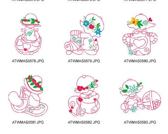 Baby-Sunbonnets. ( 10 Machine Embroidery Designs from ATW ) XYZ17B
