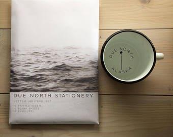 Due North Stationery Set, Letter Writing Set, Ocean Wave