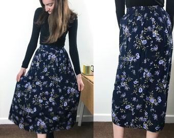 Vintage navy floral midi skirt