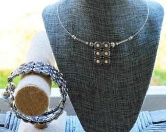 Handmade Jewelry Choker necklace and bracelet set Silver and Crystal Equestrian Style
