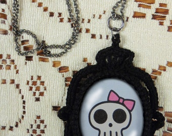 Skull in a Pink Bow - Goth/Steampunk Lace Skull Cameo Necklace