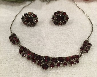 Exquisite Vintage Art Deco Sterling Silver-Deep Red BOHEMIAN Garnet & Marcasite-NECKLACE and EARRING Set-Lavalier Necklace-Clip Earrings