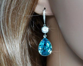 Handmade Swarovski Light Turquoise Pear Crystal Dangle Earrings, Bridal, Wedding (Sparkle-2547)