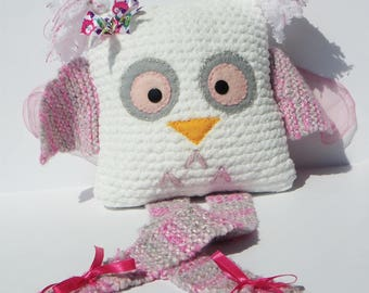 Cute little OWL white and pink