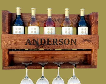 Wine Rack, Hand-painted Personalized Wine Rack, Wine Rack Wall Mounted, Wedding Gift, Anniversary Gift, Housewarming Gift, Father's Day Gift