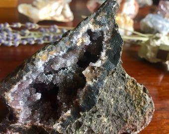 Purple Druzy Quartz Geode