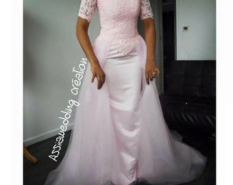 Mermaid wedding dress in lace pink dress and others colors available