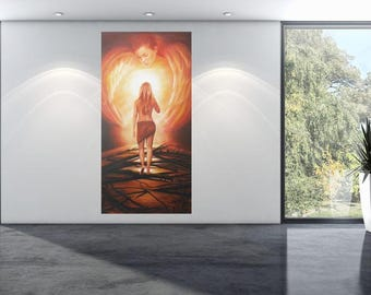 Personalized original oil painting, guardian angel, Angels, love, mysticism, custom, surrealism, fantasy, mystical, security, light