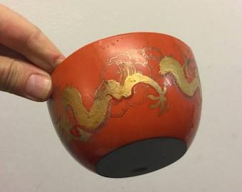 chinese dragon, laquer bowl, orange, gold, 1900,