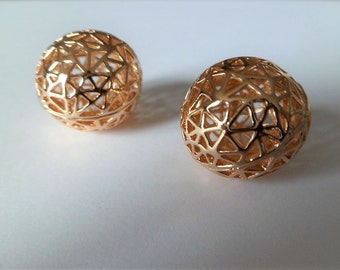 Gold plated triangular round gold plated beads