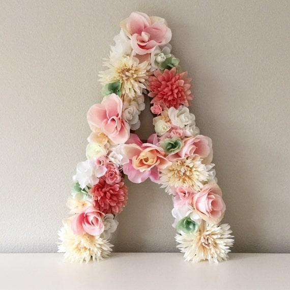 Shop Floral Monograms At Littlebrownnest Etsy Com: Floral Letter Monogram Flower Letter Floral Monogram Letter