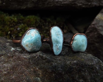Larimarring, Larimar, gemstone ring, Crystal ring, copper ring, ring boho, raw Crystal ring, Crystal, healing stone ring, Electroformed