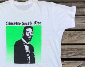 """Vintage 80's/90's Maestro Fresh-Wes """"Let Your Backbone Slide"""" white t-shirt Screen Stars XL"""