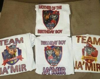 Paw Patrol Birthday Shirts 4 Count