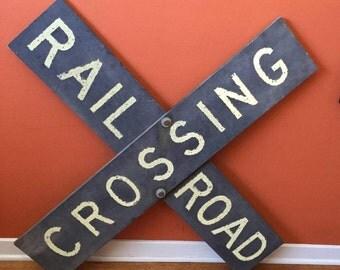 Vintage Rustic Metal Railroad Crossing Sign
