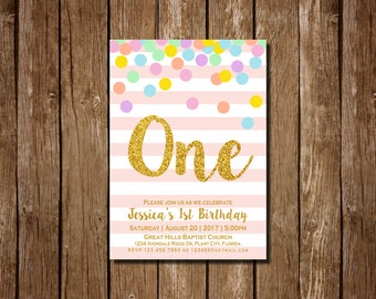 Pink and Gold First Birthday Invitation, Rainbow Gold 1st Birthday Invitation, Pink Invitation, Gold Invitation, girls 1st birthday