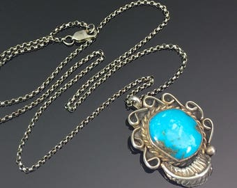 Navajo Turquoise Pendant Sterling Necklace Native American