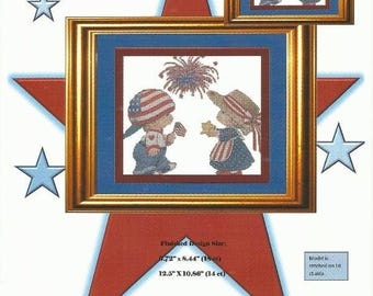Patriotic Counted Cross Stitch Pattern PATRIOTIC BUDDIES - Independence Day Fourth of July - Red White and Blue - Full Stitches Only Pattern