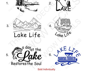 One Color Vinyl Lake Decal, Sold Individually  Not As A Set., RTIC Cup Decal, YETI Decal, Car Window Decal, Lap Top Computer Decal, Etc...