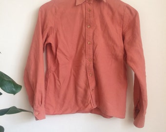Vintage Salmon Fine Wool Shirt Blouse Sz UK 10 Petite