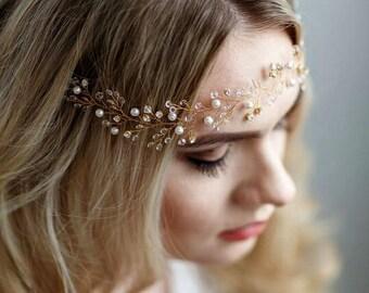 Hair Vine Bridal Wedding headpiece Rhinestone Headband Crystal Wedding Pearl Headband Bridal Headband Bridal Headpiece hairpiece Headdress