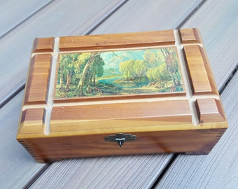 Wooden Storage Box Cedar with Mirror and Nature Mural on Top Dovetail Corners Chiseled Top