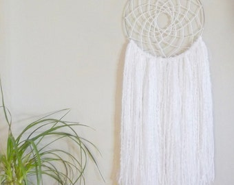 Large White Dream Catcher White Dreamcatcher Wedding Dream Catcher Wedding Dreamcatcher Yarn Wall Hanging Girls Room Decor Baby Girl Nursery