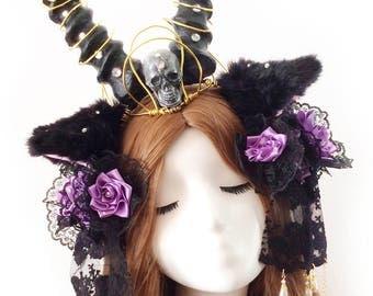 Demon Horns,Black Horn Headband, skull,Princess, Lolita , Lori, Gothic,Halloween,Christmas