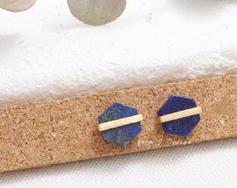 Hexagon Lapis Lazuli with Line Accent Stud Earrings