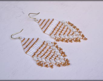 White Fringe Earrings,Beaded Fringe Earrings,White Earrings,Boho,Gift for her,seed bead earrings,Bridesmaid earrings,Summer Jewelry
