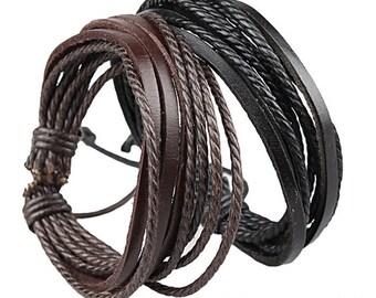 Genuine Leather Wrap Bracelet, Adjustable, Brown or Black