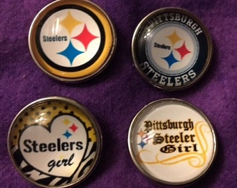 Pittsburgh Steeler 18mm Interchangeable Snap for all 18mm Snap Jewelry - Price is Per Snap
