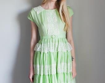 Vintage Mint Green Square Dance Dress 1950s 1960s