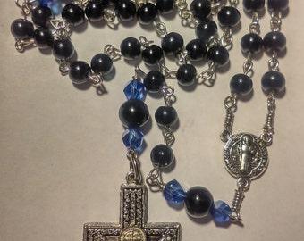 Black Czech glass pearls St. Benedict catholic rosary - handmade
