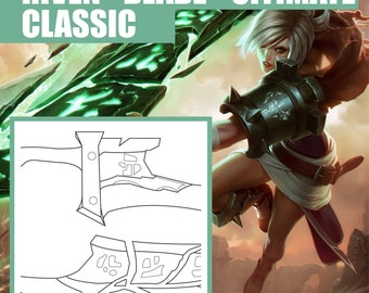 Classic Riven - Blade - Blueprint - Pattern - Vector - PDF file - League of Legends - Cosplay