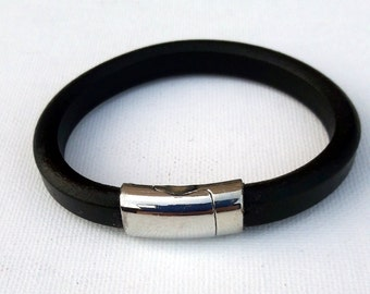 Black modern thick leather design cuff, Silver tube magnetic clasp simple basic bracelet for him the modern men