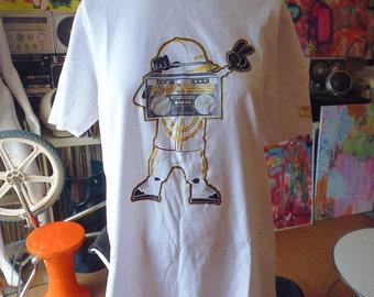 vtg t-shirt Boombox/Kangol vgc size L