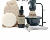Enhanced Shaving Kit - badger hair shave brush, razor stand, resin bowl, beard & face conditioner, shave soap, safety razor, 10 blades