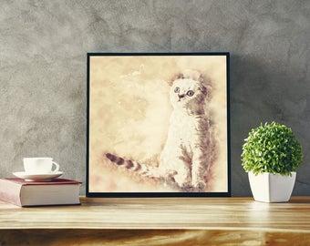 White Scottish Fold Cat Art Abstract Cat Poster Modern Art Canvas with Cat Modern Art with Scottish Fold Art Cat Painting Print Minimal Art